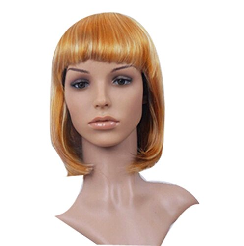 Halloween props color short hair set of BOBO head neat bang wig-Golden