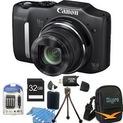 Canon PowerShot SX160 IS 16.0 MP Digital Camera with 16x Wide-Angle Optical Image Stabilized Zoom with 3.0-Inch LCD (Black) Super Bundle W/ 32 GB Secure Digital High-Capacity Mem. Card Card Reader, DigPro Deluxe Camera Case, Camera & LCD Cleaning Kit