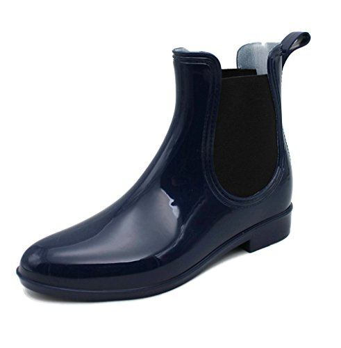 MS2910 Navy Ladies Short Ankle Rain Boots 11 (Boots Footwear)