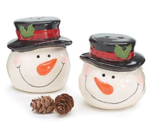 Whimsical Snowmen Top Hat Salt and Pepper Shakers Adorable Holiday Kitchen Decor