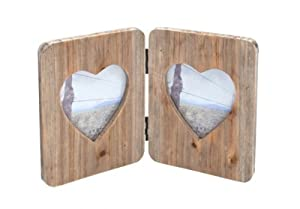 Wooden Acacia Hinged Double Heart Photo Frame