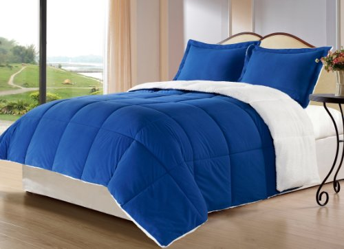 Cozy Beddings 2-Piece Down Alternative Mini Comforter Set With Pillow Case, Borrego Sherpa And Berber Throw Blanket, Twin, Royal Blue front-640063