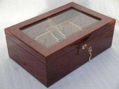 Humidor hold 50 cigars high gloss lock glass top