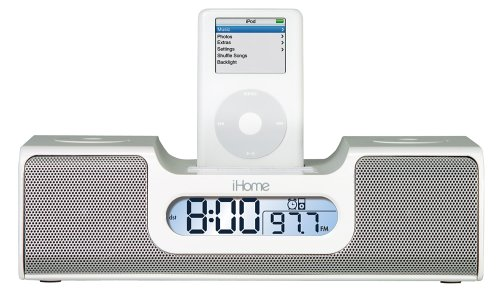 Ihome Ih5 Clock Radio And Speaker System For Ipod (White)