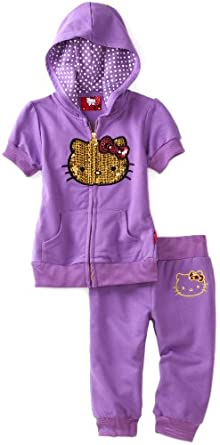 Hello Kitty Little Girls' Toddler Capri Active Set With Sequins, Purple, 2T