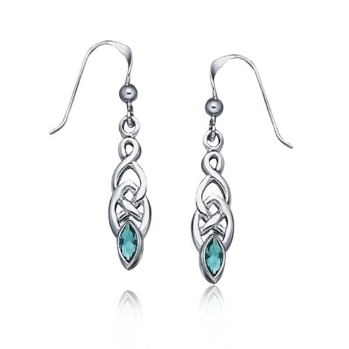 Bling Jewelry Genuine Blue Topaz Celtic Knotwork Drop Earrings 925 Sterling Silver