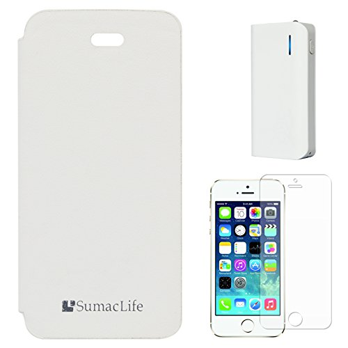 SumacLife PU Leather Flip Cover Case For Apple IPhone 5 (White) + 6000 MAh PowerBank + Matte Screen