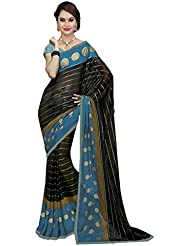 Ishin Georgette Black & Blue Printed Fancy Saree
