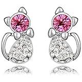 Avilady Boucles d'oreilles clous chat rose light plaqué or blanc 750/1000 (18 cts) (Cristaux Swarovski Elements)