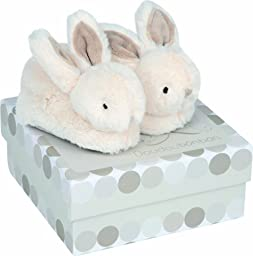 DOUDOU ET COMPAGNIE - White Bunny Booties With Rattles