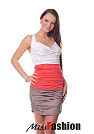 Bodycon Spring Summer Ladies sleeveless 3 coloured Dress sides shirred universal size fits UK 8-10 (White / Coral / Cappucino)