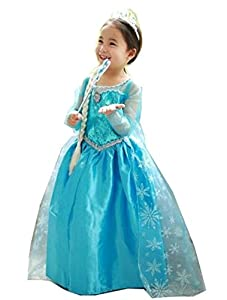 Inspired Elsa Costume Princess Dress with Bracelet for Mom (Size 6-7 with In Fashion Bracelet for Mom)