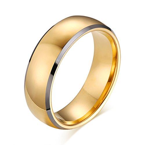 41FBCbPLwoL - BEST BUY #1 Yc Top Simple Wedding Ring Golden Tungsten Steel 8mm Men Ring Size X 1/2 UK