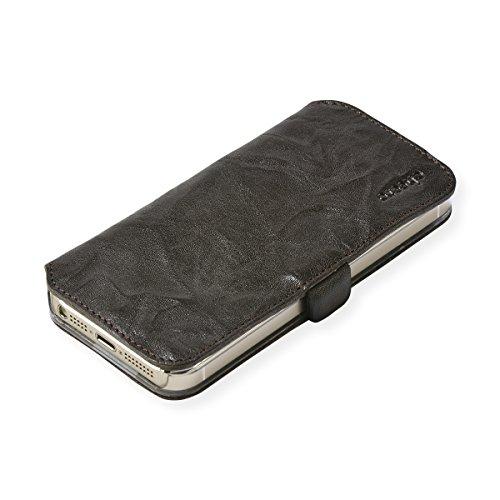 cheero Leather Case iPhone5/5s (Book type) -本革(牛)- (iPhone5/5s, ウォッシュド ダークブラウン)
