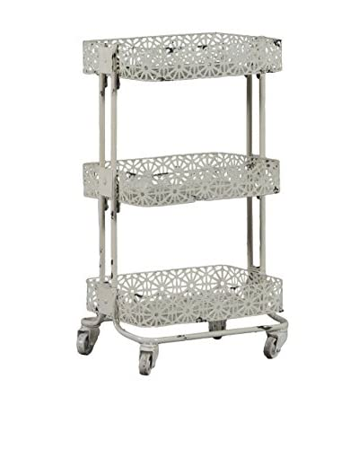 Linon Home Décor Metal 3-Tier Cart, Cream