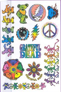Grateful Dead Psychedelic Rainbow Bears Body Art Temporary Tattoos
