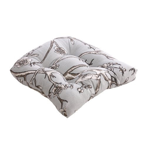 Pillow Perfect Vintage Blossom Chair Cushion, Dove picture