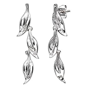 Naava 9ct White Gold Diamond Leaf Drop Earrings