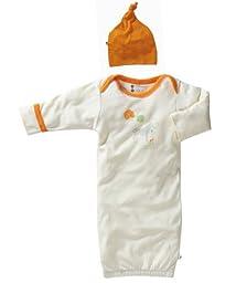 Babysoy Organic Layette Gown & Hat Sleep Sack Set, Zebra, Neutral Baby (0-3 Months)