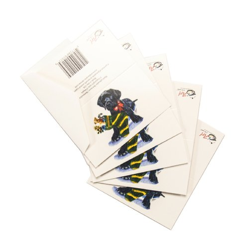 Rainbow Card Company 5-Pack Black Lab Christmas Enclosure Cards with Envelopes