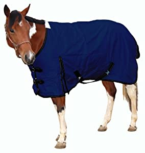 Royal Hamilton WB-600D-NV-S Turnout Horse Blanket Navy Blue with Black Trim, 75-Inch, Small