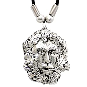 Green Man Solid Pewter Pendant on Black Neck Cord. Gift Boxed.