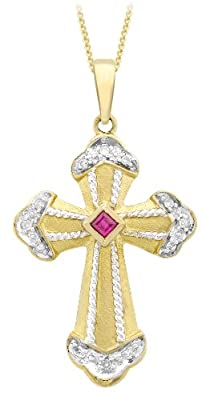 Carissima 9ct Yellow Gold Fancy Ruby/0.07ct Diamond Cross Pendant on Curb Chain Necklace 46cm/18""