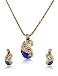 Estelle Gold Plated Necklace Set With Crystals And Blue Color (8237)