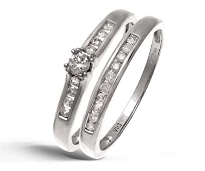 Ariel 9ct White Gold Channel Set 0.25ct Princess Cut Diamond Bridal Set Ring