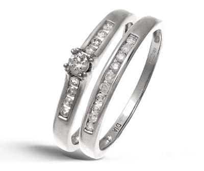 Ariel 9ct White Gold Channel Set 0.25ct Princess Cut Diamond Bridal Set Ring