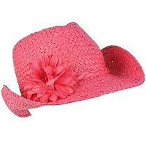 Girls Kids 9+ Youth Summer Sun Wire Brim Cowboy Flower Fedora Hat 55cm Pink