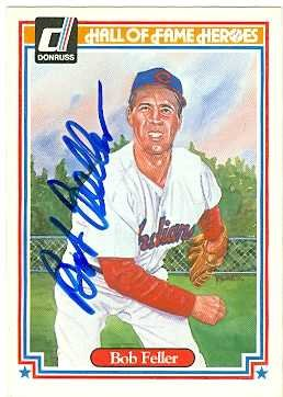 Bob Feller autographed Baseball Card (Cleveland Indians) 1983 Donruss Hall of Fame Heroes #36