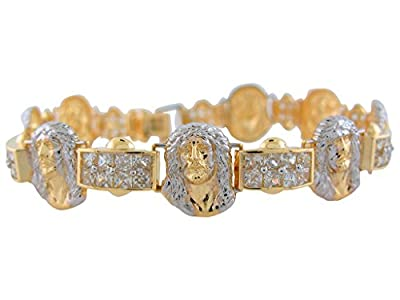 10k Two-Tone Gold Face of Jesus Religious Bracelet with White CZ Pave Links