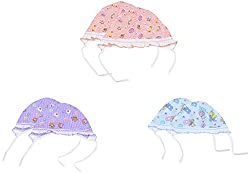 Dream Baby Cotton Round Frill Cap - Set of 6 (Multi-Coloured, 3-6 months)