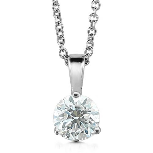 14k White Gold 3-Prong Solitaire Natural Diamond