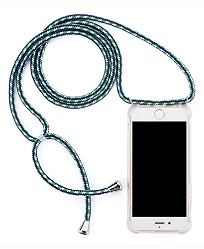 Crossbody Necklace Transparent Case For Huawei P20 Lite - Fashion Clear TPU Cell Phone Mobile Cover Holder With Cord Strap Neck Lanyard, Protective Shock Absorption Air Cushion Bumper (Color: Green Blue, Tamaño: Huawei P20 Lite)