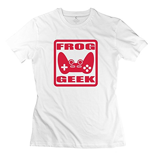 100% Cotton Cute Frog Geek T-Shirt For Women - Round Neck front-1009077