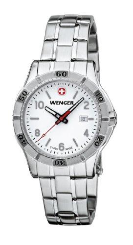 Wenger Platoon 01.9211.103 - Reloj analógico de cuarzo para mujer, correa de acero inoxidable color plateado (agujas luminiscentes)