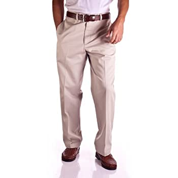 Men's Flat Front Deep Dye Twill Pant. Wrinkle Free.