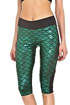 LOV ANNY Women's Fish Scale Printed Running Yoga Capri Leggings Green S