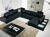 Big Sale T35 - Black Bonded Leather Sectional Sofa with Headrests
