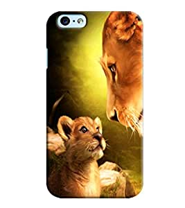 Blue Throat Lion With His Mother Printed Back Cover For Apple iPhone 6 Plus