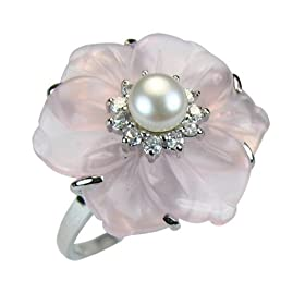 Rose Quartz Cubic Zirconia Flower Cultured Pearl Silver Ring