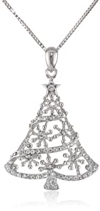 Sterling Silver Swarovski Elements Crystal Christmas Tree Pendant Necklace, 18'' by Richline Group