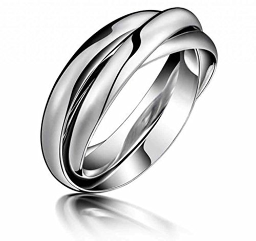 MoAndy Jewelry Titanium Stainless Steel Unisex-adult Fashion Trinity Ring Wedding Gift US Size 7 White