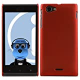 ITALKonline Sony ST26i Xperia J RED Hard Slim Grip Wave Tough Case Soft Skin Cover