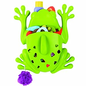 boon frog pod bath toy storage scoop and drain