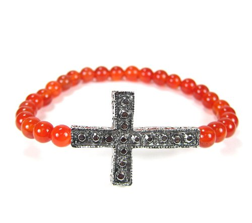 Cross Bracelet Side Ways Silver with Canellian Coral Stone Beads Stretch