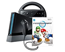 Buy Cheap Wii Console Bundle includes a Mario Kart Wii, Wii Wheel - Black