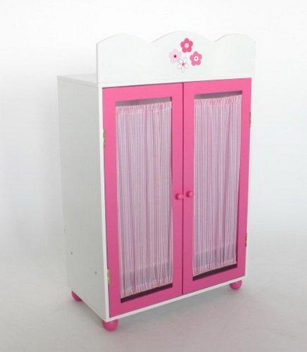 Puppenkleiderschrank Holz weiss/rosa